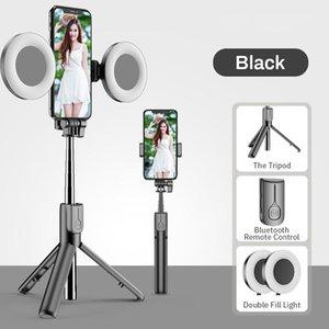 DHL беспроводной Bluetooth Selfie Stick со светодиодным кольцом Света Складной штатив Monopod для iPhone Xiaomi Huawei Samsung Android Live Stripod