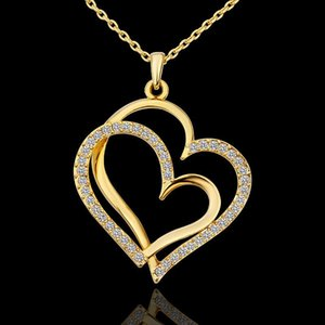 Hot Rose gold color Crystal Double Heart Pendant Necklace Luxury Jewelry Love heart Necklaces Wedding Jewelry