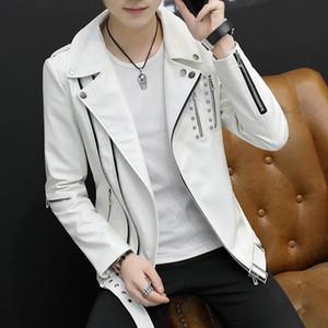 Hommes Cool Guys Moto Cuir PU Cuir Veste Revers Revettes courtes Boys Vestes Zipper Décoration Outwear Manteaux S118