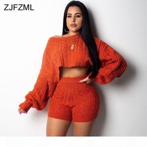 ZJFZML Autumn Winter 2 Two Piece Set Women Long Sleeve Knitted Sweater Crop Tops And Bodycon Shorts Casual Outfit Warm Tracksuit