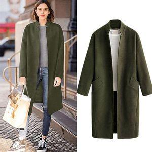 Women Blend Coat Winter Fashion Warm Stand Collar Wool Cardigan Jacket Casual Loose Parka Overcoat Plus Size Long Seleve Outwear