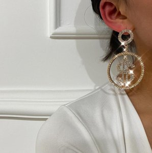 Music Note Tendance Gold Hoop Boucle d'oreille Or Cristal Strass Stud Oreille de boucles d'oreilles Zirconia Set de mode