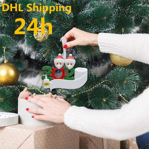24h DHL Shipping Resin Quarantine Christmas Gift Party Decoration Product Personalized Family Of 4 Ornament Pandemic with Face Masks
