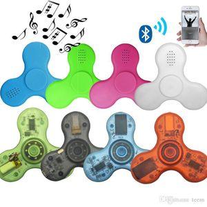LED Bluetooth Music Fidget Crystal Spinner Finger Handspinner EDC TRI Spinner Handspinner EDC Toy DecomPression Juguetes en la caja al por menor