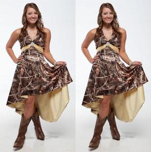 2021 Special Camouflage Bridesmaid Dresses with Sash Halter V Neck Camo Maid of Honor Dress High Low A Line Bride Vestidos De Novia