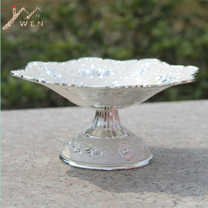 New Elegant Luxury Silver Plated Dried Fruit Plate Snack Tray Home Decor Nut Bowl Y1119