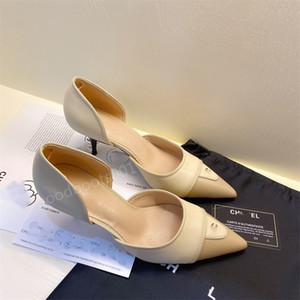 High heels women's autumn and winter new style C shallow mouth pointed high heels small fragrance style metal decorative stiletto