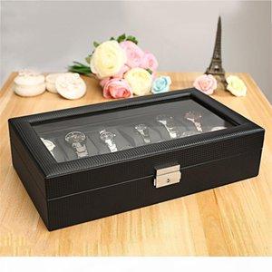 K Black High -Grade 12 Slot Luxury Carbon Fiber Display Design Jewelry Display Watch Box Storage Holder Large Glass Window