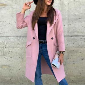 Muyogrt шерстяное пальто зимы женщин Длинные Альпака куртки пальто женщин корейской моды Розовый Длинные пальто Урожай Шинель Slim Fit Outwear