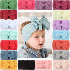 Yay Bebek Bantlar Naylon Jakarlı Çocuk Hairband Büyük Yaylar Çocuklar Headwrap Katı Yumuşak Kafa Bantları Saç Aksesuarları 18 Renkler DW6280