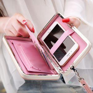 Designer- vendedor caliente de la carpeta de las mujeres del alto grado de moda bolsa de Lindos monederos de la moneda del monedero del bolso monedero largo Nuevo