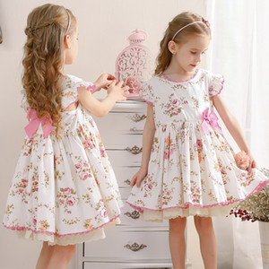 Spanish Style Children Girls Sweet Dress Floral Lolita Bow Print Classic Retro Ruffles Party Dress 100% Cotton Kids Cute Girl Dresses