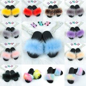 Красочные Fox Мех пушистые тапочки для леди милые плюшевые Faux Fox Hair Slides Party Furry Flip Plops Rainbow Home Sandals Kimter-Z140Z