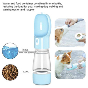 2020 New 2 in 1 Portable Pet Dog Water and Food Bottle for Walking Food Water Feeder for Dogs Drinking Bowl Puppy Cat Water Dispenser Pet