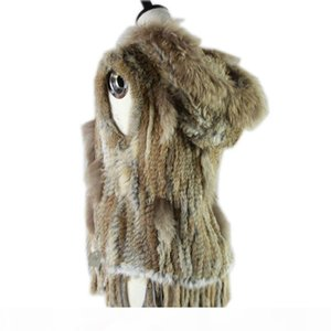 Harppihop fashion rabbit fur vest raccoon trimming knitted vest with hood waist coat gilet T191118