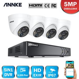 Annke 8CH 5MP لايت نظام مراقبة الفيديو 5in1 h.265 + dvr مع 4x 5mp pir كشف قبة كاميرات الأمن للماء CCTV كيت LJ201205