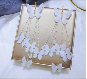 2020 new sweet summer vacation super long tassel white butterfly earrings exaggerated personality clever 406