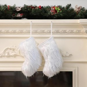 Christmas Socks White Long Plush Stock Kids Gifts Bags Christmas Tree Hanging Pendants Retro Santa Lovely Christmas Socks Ornaments