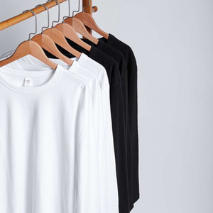 300g white cotton thickened ground wool long sleeve T-shirt for men and women