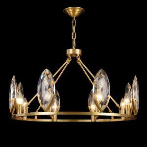 Modern Lustre Crystal Led Chandeliers Lighting Living Dining Room Decor Led Chandelier Copper Hanging Light Suspension Luminaire