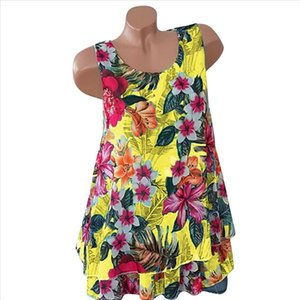 Women T Shirts Large Size Sleeveless Print Yellow O Neck Casual Loose Trend Elegant Noble Summer T Shirt For Women