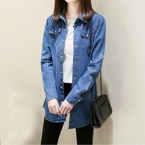 2108 New Korean Style Spring Denim Coat for Women Female Turn Down Collar Casaul Jeans Jacket Ladies Plus Size Loose Coats F256
