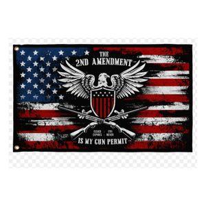 US Die 2. Änderung ist meine Waffe-Erlaubnis-Flaggen 3 'x 5'FT 100D-Polyester-hohe Qualität mit Messing-Ösen