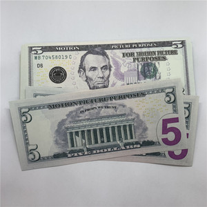 Props U.S.currency Fake Shooting Forged Bank Ouecs 5 Money Dollar F8 Toy Performance Children Copy Banknotes Bar Vbcmg
