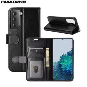 Funda de cuero de la cartera de soporte de lujo para Samsung Galaxy S21 S30 Case Crazy Horse Pattern Pattern Teléfono de negocio