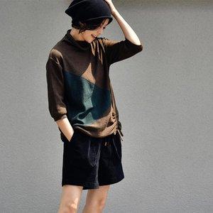 MICOCO Z8803C Literary retro joker matching color five minute sleeve drawstring high collar show thin knitwear women