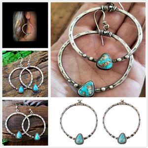 Fashion Women Vintage Boho Silver Turquoise Stone Drop Dangle Hooks Hoop Earrings Wholesale Jewelry Gift Free Shipping