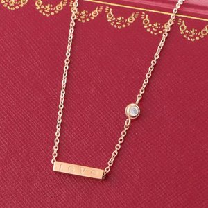LOVE Square Pendant with Singel CZ diamond Rose Color Necklace for Women Vintage Collar Costume Jewelry with original box set