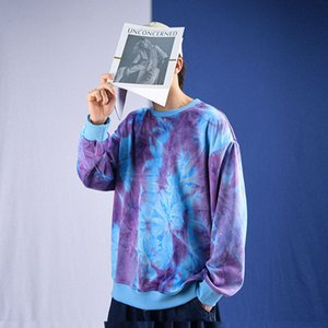 Privathinker Tie Dye Hooded Sweatshirts Men Oversize Vintage Baggy Hoodies Kpop Streetwear Male Hoodies Pullover Men Clothing Y0111