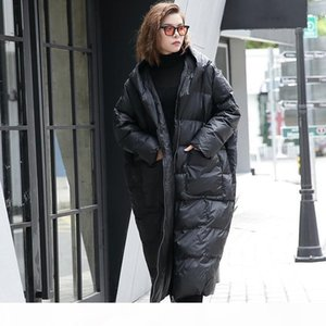 2020 New Winter Hooded Long Sleeve Solid Color Black Cotton-padded Warm Loose Big Size Jacket Women Parkas Fashion Long Coats