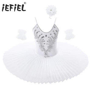 Kids Girls Spaghetti Straps Holographic Beads Ballet Leotard Tutu Dress Swan Dance Costume with Arm Sleeves Contemporary Costume
