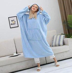 Winter Warm TV Pocket Hooded Blankets Adults Bathrobe Sofa Cozy Hoodie Blanket Sweatshirt Plush Coral Fleece Blankets Outwears