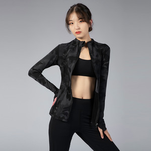 Женская спортивная одежда молния быстрая сухая спортивная куртка пиджак неуправляет йога тренажерный зал профессиональный полиэстер снег бегущая одежда