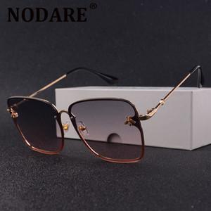 Nodare retro plaza abeja gafas de sol mujeres diseñador de marca marco de metal gafas de sol de gran tamaño femenino moda gradiente sombras oculos