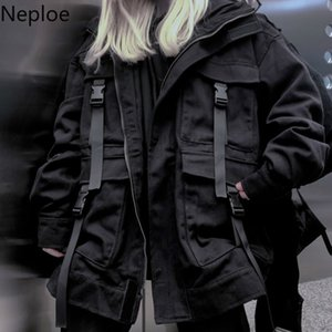 Neploe Korean Streetwear Harajuku Black Denim Jacket Oversized Pockets Women Jeans Jackets Loose BF Vintage Casual Coats 39106 Q1119