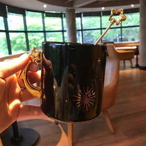 2019 Limited Late Night Starry Sky Cup Starbucks with Starbucks Spoon Fireworks Blooming Black Mug Coffee Cup Capacity 414ML