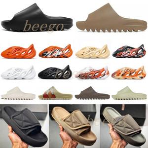 Alta Qualidade Kanye Mens Sandálias Sapatos Espuma Corredor Preto Branco Red Slide Oeste Deserto Resina Deserto Areia Terra Brown Homem Womens Chinelos 12 #