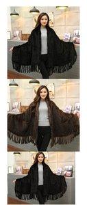 Fashion-Women Fur Poncho Winter Black Brown Knit Natural Scarves Wraps Real Shawls for Women Shawl