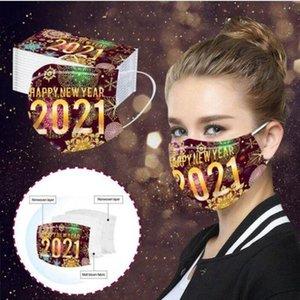 Happy New Year Face Mask 3 Layered Одноразовые маски для взрослых печати пыле дышащий Защитные партии украшения Mouth крышки LJJP794