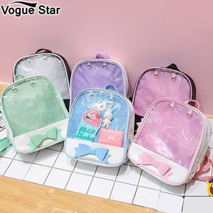 Clear Transparent Women Backpack Cute Bow Ita Bags For School Mini Pink Black Schoolbags For Teenage Girls Fashion Bookbag M276