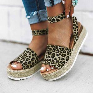 Dwayne Womens Sandals Fashion Fisherman Shoes Leopard Retro Buckle Strap Sandals Wedges Peep Toe Wedges Shoes for Women