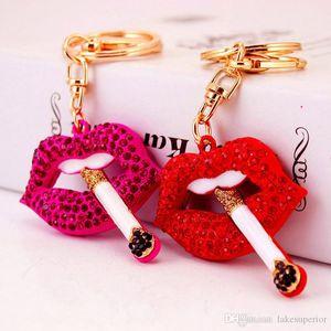 Women Rhinestone Lip Key Chain Bling Bling Red Lip Car Key Ring Bag Accessories Decoration High Quality Epacket Shipping