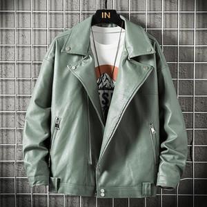 New Motorcycle Pilot Leather Jacket Fashion Men's Designer Punk Wind Oblique Zipper Design Men's Leather Casual Jacket Coat