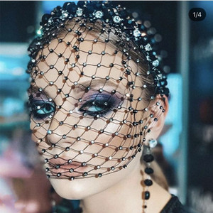 Sexy Black Luxury Crystal Rhinestone Mesh Hair Band Head Hoop Headband Cover Face Veil Headpiece Wedding Hair Jewelry for Women J0113