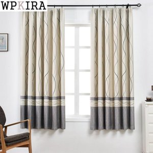 Grommet Top Short Stripe Print Curtain for Living Room Simple Modern Cafe Kitchen Cortinas PC008&30