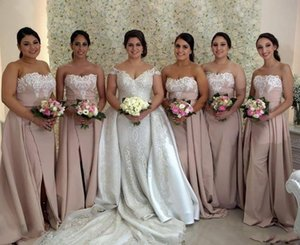African Bridesmaid Dresses 2021 Pink Lace Appliqued Strapless Split Maid Of Honor Gowns With Detachable Train Wedding Guest Dress AL7809